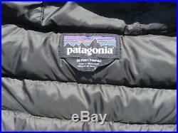 Mens PATGONIA Black Hooded Hoody Goose Down Zip Sweater Jacket Medium $279