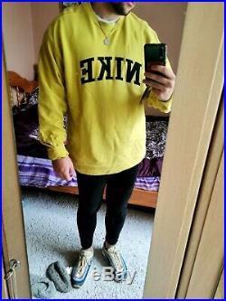 Mens Vintage Nike Sweatshirt Spell Out Logo Sweater Yellow Medium White Label