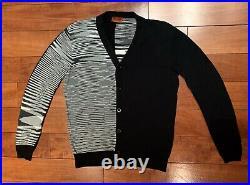 Missoni Men's Black & White Asymmetric Striped Cotton Cardigan