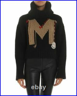 Moncler AUTH Macro Logo Patch M Lettering High Neck Cropped Sweater M Chunky