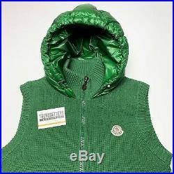 Moncler Mens Knitted Green Down Gilet Puffer Zip Jacket Sweater M L Medium 2 3