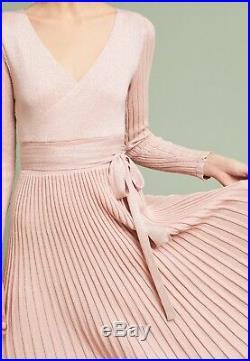 NEW $198 Anthropologie Elliatt Giselle Sweater Dress Size Medium Pink Shimmer