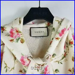 NEW GUCCI Floral Rose Print Hoodie Sweater Rare Runway Sold Out M Medium