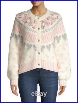 NEW LoveShackFancy Jamie Fair Isle Sweater Cardigan Alpaca Wool Milky Clouds M