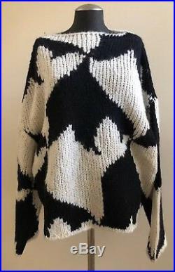 NWOT DRIES VAN NOTEN Knit Wool Sweater Size Medium Black/White