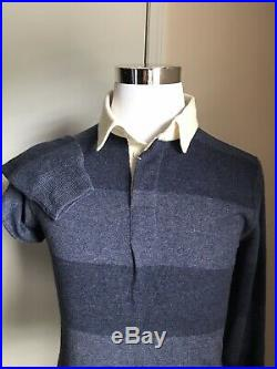 NWT $1295 Ralph Lauren Purple Label Men Cashmere Polo Shirt Sweater Blue M Italy