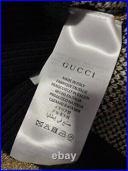 NWT $1500 Gucci Men Tiger Print Crewneck Sweater Black/Gold M Italy