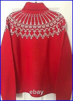 NWT $298 Tory Burch Sport L Merino Wool Fairisle Turtleneck Sweater Red Mountain