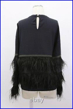 NWT$3295 Brunello Cucinelli Crewneck WithBeading+Ostrich Feathers+Sequins SzM A186