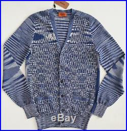 NWT Authentic MISSONI Blue 100% Cotton Knitted Cardigan Sweater M