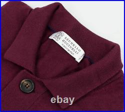 NWT BRUNELLO CUCINELLI Burgundy Cashmere-Slk Cardigan Sweater Vest 50/40/M $1595