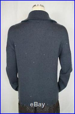 NWT Brunello Cucinelli Diamond Cashmere Silk Sweater Unique Collar $2875 Medium