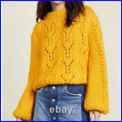 NWT GANNI Julliard Mohair Sweater in Lemon Sz M & L Medium Large Retail $475