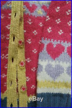 NWT Loveshackfancy Deena Cardigan in Pink Icing knitted Sweater Medium Hearts