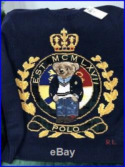 NWT Polo Ralph Lauren Logo Crest Bear Wool Blend Sweater Mens Medium