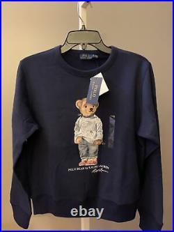NWT Polo Ralph Lauren Women's Polo Bear Fleece Sweatshirt in Navy Size M