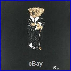 NWT Ralph Lauren Biltmore Golfing Polo Bear Mens M Black Crewneck Sweater $398