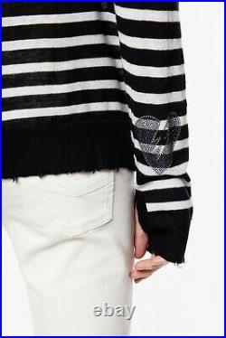 NWT Zadig & Voltaire Reglis Stripe Cashmere Sweater, Noir (Black) Size S, M $398