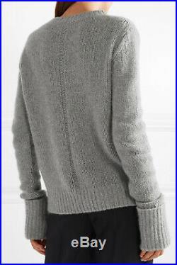 New $990 The Row Gibet Cashmere Sweater in Medium Grey Heather sz XS