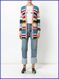 New Auth Gucci Oversized Striped V-Neck Cashmere Blend Cardigan Size M / US 6