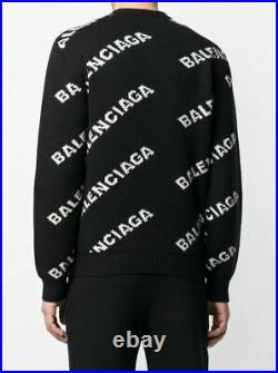 New & Authentic Balenciaga All-Over Logo Wool Sweater in Size M retail $1300