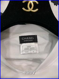 New Chanel Crewneck Sweatshirt Sweater Uniform CC M Unisex White Exclusive Rare
