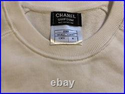 New Chanel Crewneck Sweatshirt Sweater Uniform M Unisex White