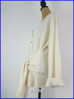 New Creatures of Comfort Womens Sweater Medium Cashmere Ivory Relax Tie Cardigan