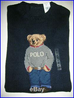 New Polo Ralph Lauren POLO Teddy Bear intarsia-knit sweater logo navy mens M