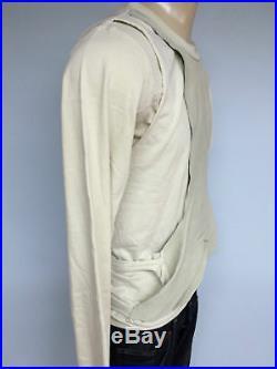 New mens rick owens slab wje1003 bone cream leather shirt sweater size large