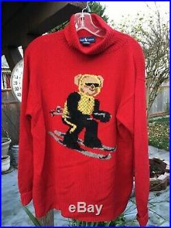 Og 1992 Vintage Ralph Lauren Polo Bear Suicide Ski Hand Knit Turtleneck Sweater