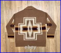PENDLETON Authentic Native pattern Concho button Cardigan Camel Size M New