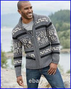 PENDLETON Large WESTERLEY Wool Cardigan BIG LEBOWSKI Sweater BLACK GRAY WESTERLY