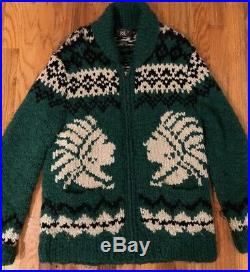 PRE-OWNED RRL Ralph Lauren Indian Head Hand Knit Wool Cardigan Sweater Men's M