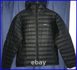 Patagonia Mens Down Sweater Hooded Hoody Jacket Medium Black EEUC