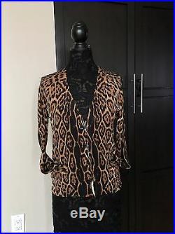 Petra's Saint Laurent Pilatti Leopard Knit Dressy Cardigan Sweater Med NWT