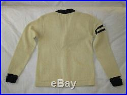 Polo Ralph Lauren Cardigan Sweater P Wing R Rugby Track Knit Patch Varsity Linen