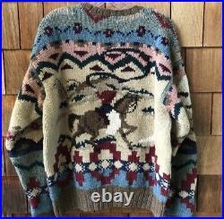 Polo Ralph Lauren Medium VTG Sweater Cowboy RRL Aztec Small Indian Country Kanye