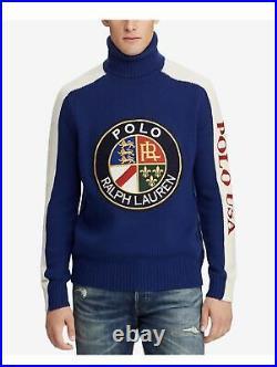 Polo Ralph Lauren Men 100% Wool Cookie Crest Ski 92 Turtle Neck Sweater M L 2XL