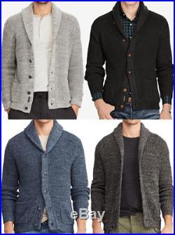 Polo Ralph Lauren Men Cotton Shawl Collar Knit Sweater Cardigan Regular Fit