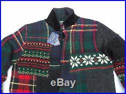 Polo Ralph Lauren Men Multicolor Patchwork-Sweater-Cardigan Blazer SIZE MEDIUM