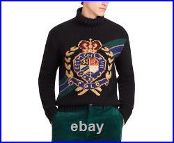 Polo Ralph Lauren Men Vtg Retro Wool Crest Intarsia Ski Turtleneck Knit Sweater