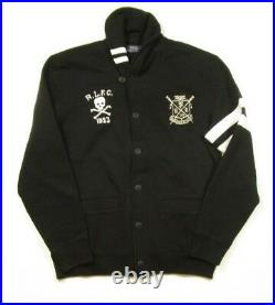 Polo Ralph Lauren Men's Black Patch Fleece Shawl Cardigan Sweater