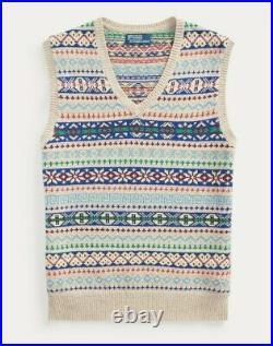 Polo Ralph Lauren Mens Fair Isle Cashmere Knit Varsity V Neck Sweater Vest NWT
