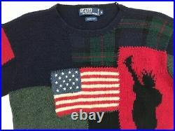 Polo Ralph Lauren Mens M 9/11 Tribute Sweater Wool FDNY Memorial Hand Knit Rare