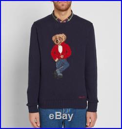 Polo Ralph Lauren Navy 50th Anniversary James Dean Denim Bear Wool Knit Sweater