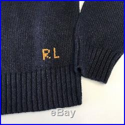 Polo Ralph Lauren Navy Rugby Polo Bear Men's MEDIUM Graphic Pullover Sweater