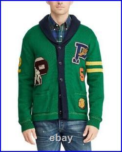 Polo Ralph Lauren Patchwork Letterman Preppy Varsity Knit Sweater Cardigan Sz M
