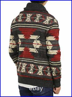 Polo Ralph Lauren Shawl Native Print Cardigan Sweater Charcoal/Tan/Red