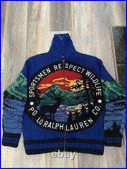 Polo Ralph Lauren Sportsmen Respect Wildlife Italian Cowichan Sweater MEDIUM